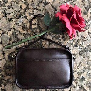 Coach Brown Leather Mini Bag Wristlet strap